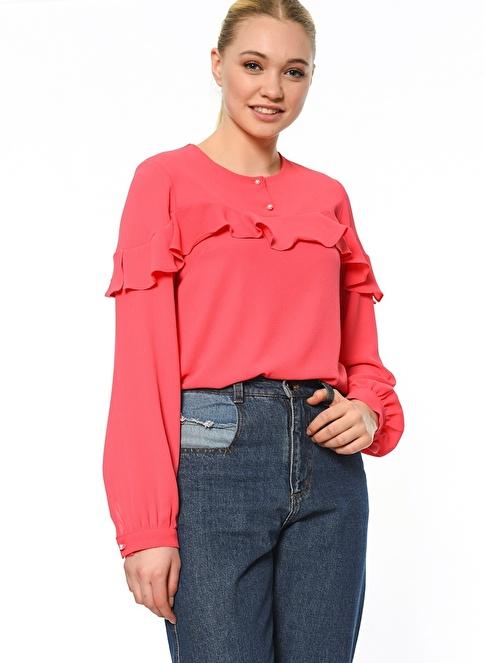Butik Triko Volanlı Gömlek Kırmızı